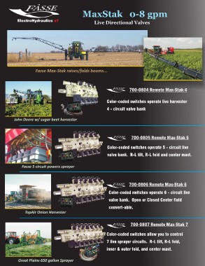 page 26 fasse consumer cataloge electrohydraulics x7 maxstak 0 8 gpm live directional valves fasse max stak raises folds booms miller nitro sprayer 700 0804 remote max stak 4